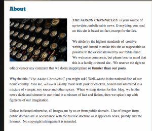 ADOBO Chronicles ABOUT sayfası